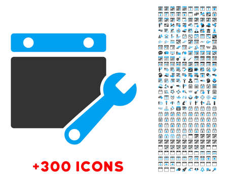syllabus: Syllabus Tuning vector pictogram with additional 300 date and time management icons. Style is bicolor flat symbols, blue and gray colors, rounded angles, white background.