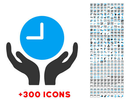 timed: Clock Care vector pictogram with additional 300 date and time management icons. Style is bicolor flat symbols, blue and gray colors, rounded angles, white background. Illustration