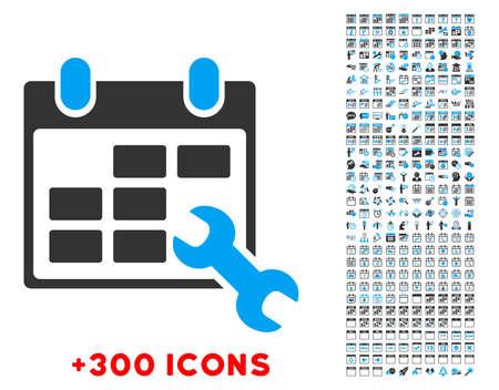 cronograma: Configurar Horarios pictograma vector con 300 de fecha y de gesti�n del tiempo iconos adicionales. El estilo es bicolor s�mbolos planas, los colores azules y grises, �ngulos redondeados, fondo blanco. Vectores