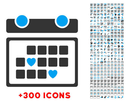 favourite: Favourite Days vector pictogram with additional 300 date and time management icons. Style is bicolor flat symbols, blue and gray colors, rounded angles, white background.