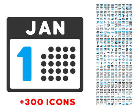 1 january: January First vector pictogram with additional 300 date and time management icons. Style is bicolor flat symbols, blue and gray colors, rounded angles, white background.
