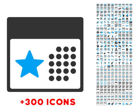 daytime: Holiday Syllabus vector pictogram with additional 300 date and time management icons. Style is bicolor flat symbols, blue and gray colors, rounded angles, white background.