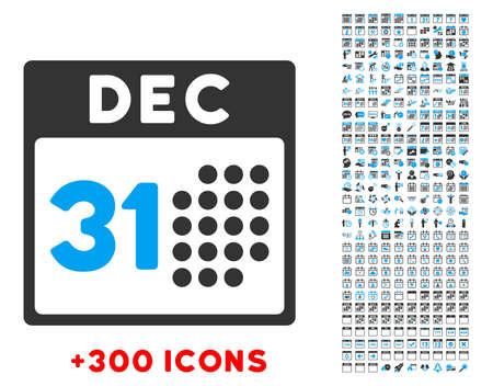 time account: Last Year Date vector pictogram with additional 300 date and time management icons. Style is bicolor flat symbols, blue and gray colors, rounded angles, white background.