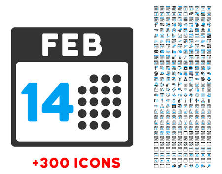 love dynamite: Romantic Valentine Day vector pictogram with additional 300 date and time management icons. Style is bicolor flat symbols, blue and gray colors, rounded angles, white background.