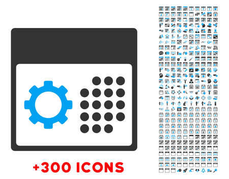 timed: Service Organizer vector pictogram with additional 300 date and time management icons. Style is bicolor flat symbols, blue and gray colors, rounded angles, white background. Illustration