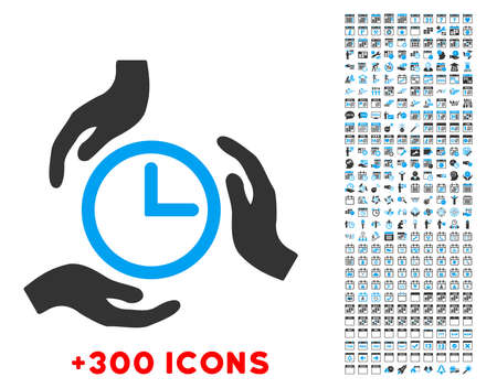 timed: Time Care vector pictogram with additional 300 date and time management icons. Style is bicolor flat symbols, blue and gray colors, rounded angles, white background. Illustration
