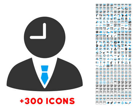 Time Manager vector pictogram with additional 300 date and time management icons. Style is bicolor flat symbols, blue and gray colors, rounded angles, white background.