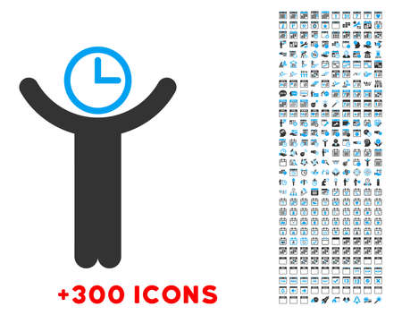 temporary workers: Time Manager vector pictogram with additional 300 date and time management icons. Style is bicolor flat symbols, blue and gray colors, rounded angles, white background.