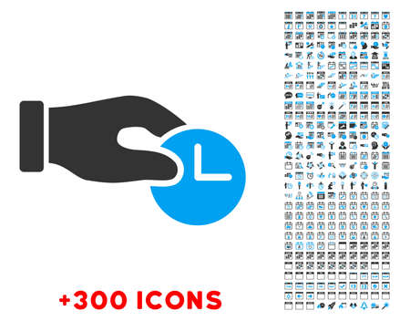 configure: Time Properties vector pictogram with additional 300 date and time management icons. Style is bicolor flat symbols, blue and gray colors, rounded angles, white background. Illustration
