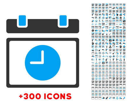 timed: Time Schedule vector pictogram with additional 300 date and time management icons. Style is bicolor flat symbols, blue and gray colors, rounded angles, white background.