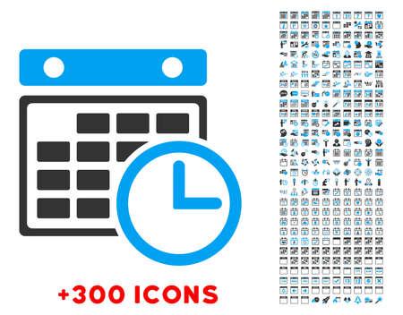 cronograma: Horario del vector pictograma con 300 de fecha y de gesti�n del tiempo iconos adicionales. El estilo es bicolor s�mbolos planas, los colores azules y grises, �ngulos redondeados, fondo blanco.