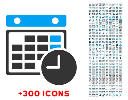 dataset: Time Dataset vector pictogram with additional 300 date and time management icons. Style is bicolor flat symbols, blue and gray colors, rounded angles, white background. Illustration