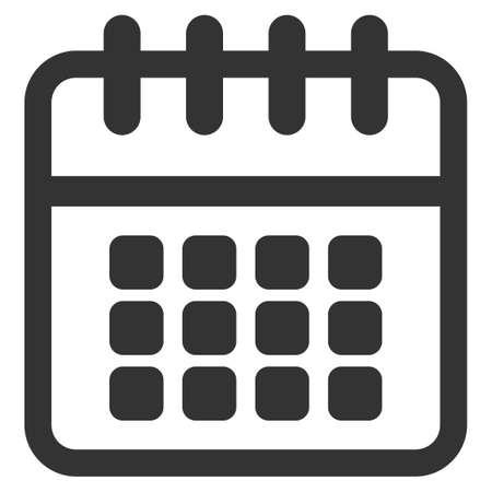 syllabus: Spiral Calendar vector icon. Style is flat symbol, gray color, rounded angles, white background.