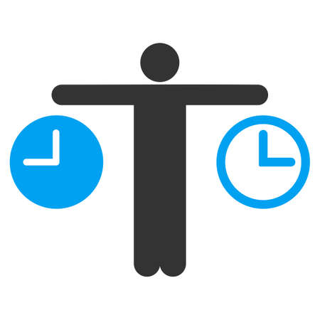 timed: Compare Time vector icon. Style is bicolor flat symbol, blue and gray colors, rounded angles, white background. Illustration
