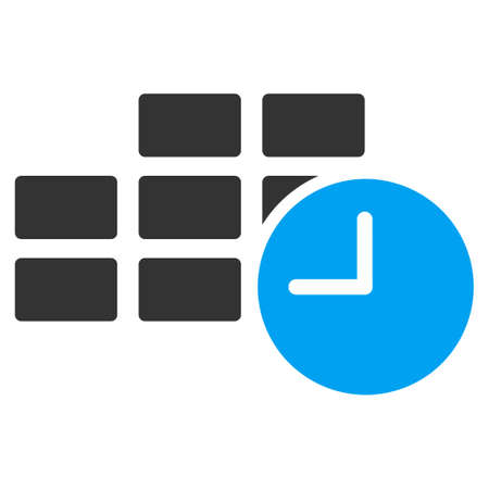 timed: Date Time vector icon. Style is bicolor flat symbol, blue and gray colors, rounded angles, white background.