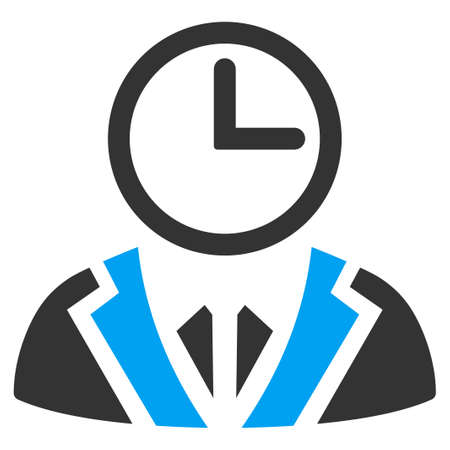 temporary workers: Duty Person vector icon. Style is bicolor flat symbol, blue and gray colors, rounded angles, white background.