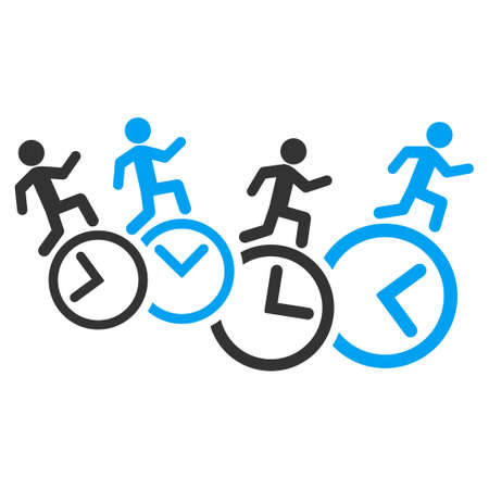 timed: Men Running Over Clocks vector icon. Style is bicolor flat symbol, blue and gray colors, rounded angles, white background.
