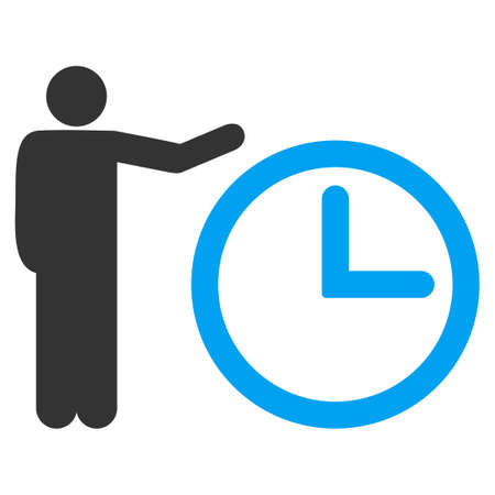 temporary workers: Time Show glyph icon. Style is bicolor flat symbol, blue and gray colors, rounded angles, white background.