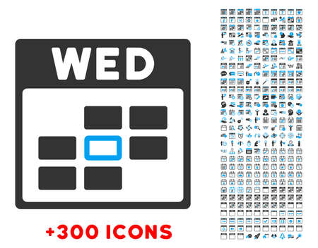 wednesday: Wednesday vector pictogram with additional 300 date and time management icons. Style is bicolor flat symbols, blue and gray colors, rounded angles, white background.