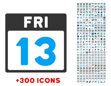 13th: 13 Friday vector pictogram with additional 300 date and time management icons. Style is bicolor flat symbols, blue and gray colors, rounded angles, white background.