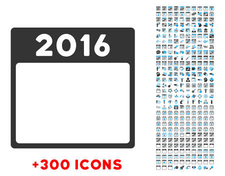 13th: 2016 Year vector pictogram with additional 300 date and time management icons. Style is bicolor flat symbols, blue and gray colors, rounded angles, white background.