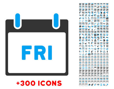 date validate: Friday vector pictogram with additional 300 date and time management icons. Style is bicolor flat symbols, blue and gray colors, rounded angles, white background.