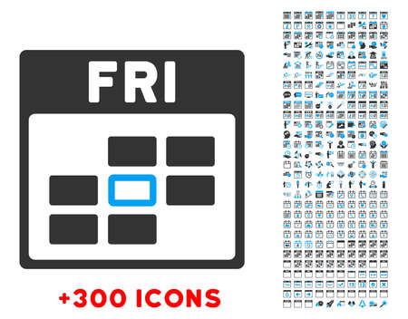 Friday vector pictogram with additional 300 date and time management icons. Style is bicolor flat symbols, blue and gray colors, rounded angles, white background.