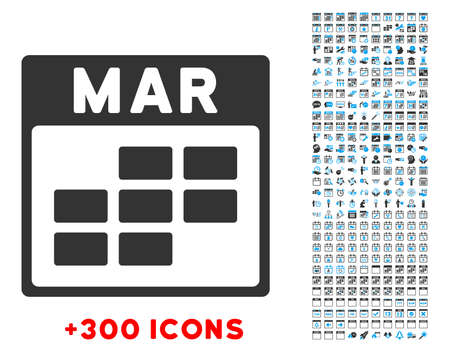 friday 13: March vector pictogram with additional 300 date and time management icons. Style is bicolor flat symbols, blue and gray colors, rounded angles, white background.