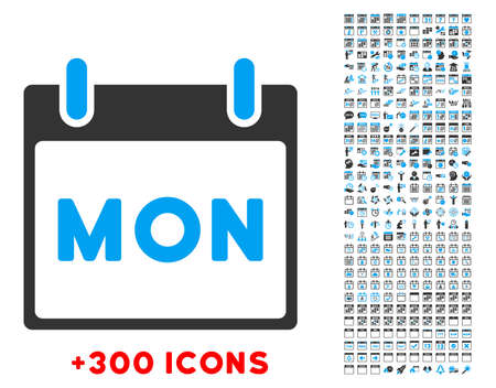 Monday vector pictogram with additional 300 date and time management icons. Style is bicolor flat symbols, blue and gray colors, rounded angles, white background.