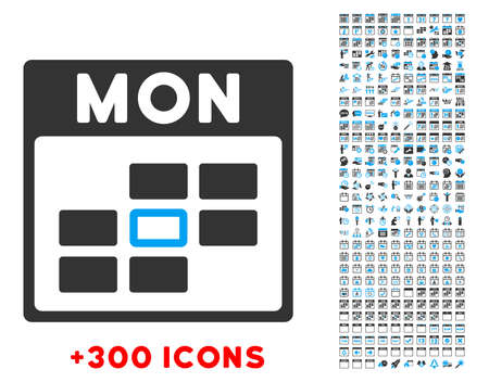 unnamed: Monday vector pictogram with additional 300 date and time management icons. Style is bicolor flat symbols, blue and gray colors, rounded angles, white background.