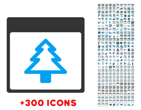 New Year Day vector pictogram with additional 300 date and time management icons. Style is bicolor flat symbols, blue and gray colors, rounded angles, white background. Illustration