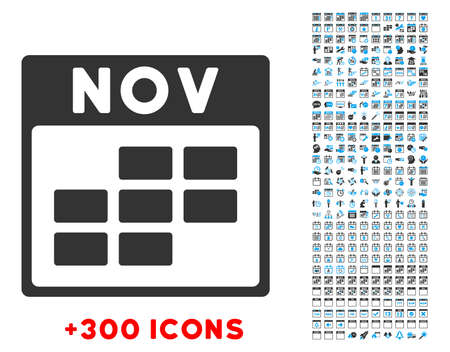 unnamed: November vector pictogram with additional 300 date and time management icons. Style is bicolor flat symbols, blue and gray colors, rounded angles, white background.
