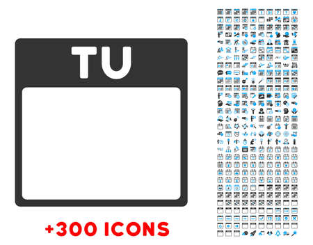 tuesday: Tuesday vector pictogram with additional 300 date and time management icons. Style is bicolor flat symbols, blue and gray colors, rounded angles, white background.