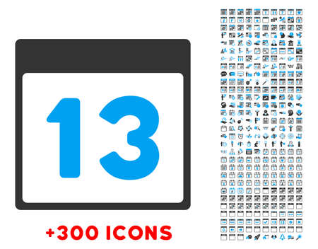 friday 13: Thirteenth Day vector pictogram with additional 300 date and time management icons. Style is bicolor flat symbols, blue and gray colors, rounded angles, white background.