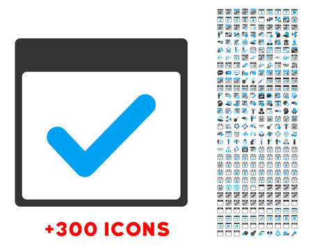 valid: Valid Day vector pictogram with additional 300 date and time management icons. Style is bicolor flat symbols, blue and gray colors, rounded angles, white background.