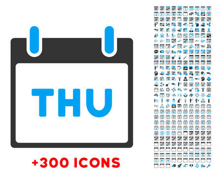 thursday: Thursday vector pictogram with additional 300 date and time management icons. Style is bicolor flat symbols, blue and gray colors, rounded angles, white background.