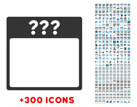13th: Unknown Date vector pictogram with additional 300 date and time management icons. Style is bicolor flat symbols, blue and gray colors, rounded angles, white background.