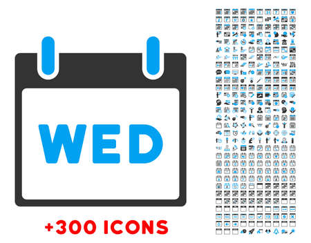13th: Wednesday vector pictogram with additional 300 date and time management icons. Style is bicolor flat symbols, blue and gray colors, rounded angles, white background.