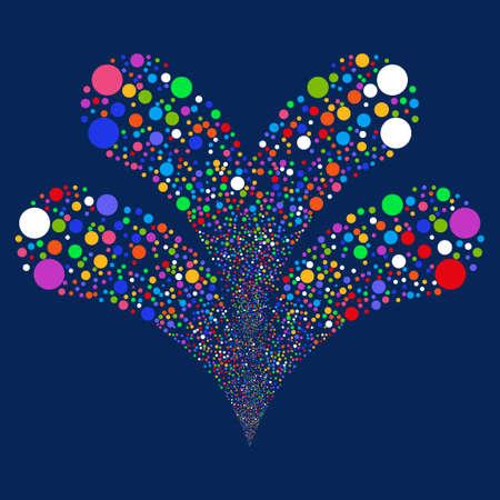 ilustración vectorial Círculo de fuegos artificiales doble. El estilo es brillante círculos planos multicolores, fondo azul. Ilustración de vector