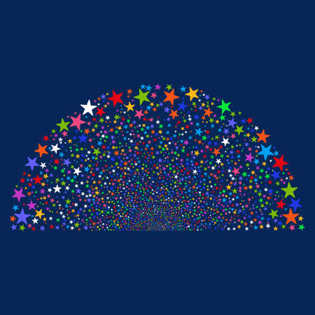 Sparkle Star Dome vector illustration. Style is bright multicolored flat stars, blue background. Illustration