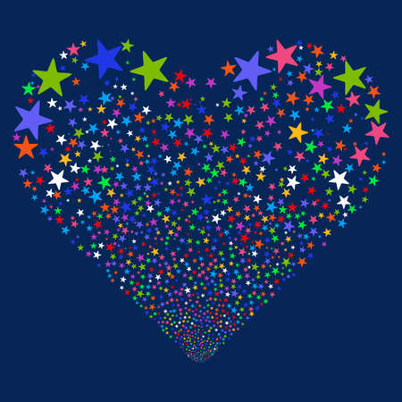 glyph: Star Salute Heart glyph illustration. Style is bright multicolored flat stars, blue background. Stock Photo