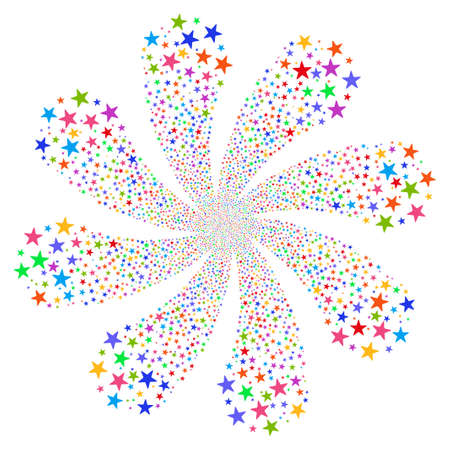 Star Fireworks Flower With Eight Petals vector illustration. Style is bright multicolored flat stars, white background.