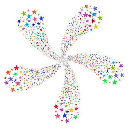 Star Salute Flower With Five Petals vector illustration. Style is bright multicolored flat stars, white background.