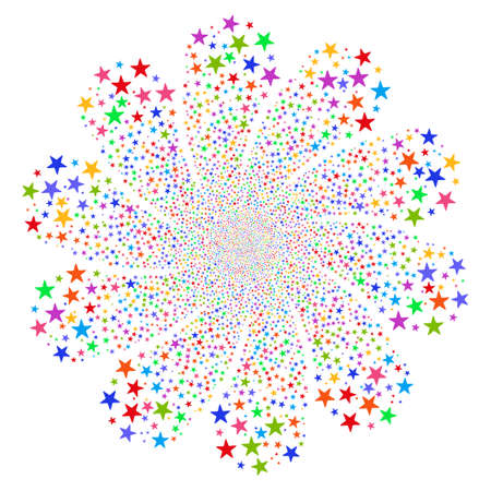 Star Fireworks Flower With Ten Petals vector illustration. Style is bright multicolored flat stars, white background.