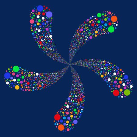 five petals: Circle Salute Swirl With Five Petals glyph illustration. Style is bright multicolored flat circles, blue background. Stock Photo