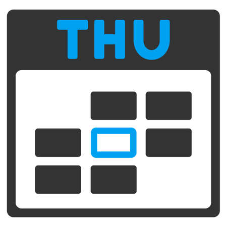 thursday: Thursday glyph icon. Style is bicolor flat symbol, blue and gray colors, rounded angles, white background.