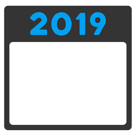 syllabus: 2019 Syllabus glyph icon. Style is bicolor flat symbol, blue and gray colors, rounded angles, white background.