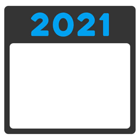 syllabus: 2021 Syllabus glyph icon. Style is bicolor flat symbol, blue and gray colors, rounded angles, white background.