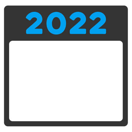 syllabus: 2022 Syllabus glyph icon. Style is bicolor flat symbol, blue and gray colors, rounded angles, white background. Stock Photo