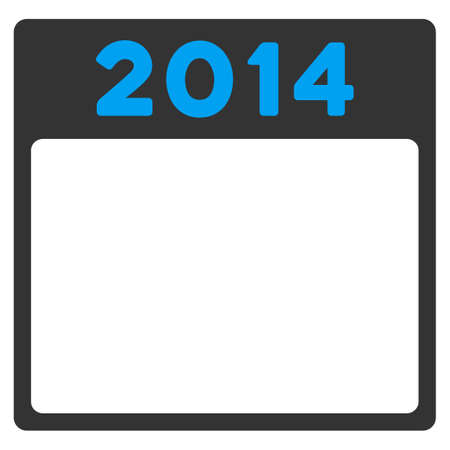 agenda year planner: 2014 Calendar vector icon. Style is bicolor flat symbol, blue and gray colors, rounded angles, white background.